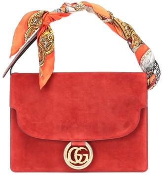 Gucci Scarf-trimmed suede shoulder bag