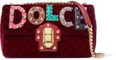 Dolce & Gabbana Lucia Embellished Watersnake-appliquéd Velvet Shoulder Bag - Burgundy
