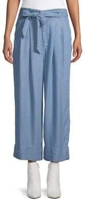 Halston H Paper Bag Crop Wide Leg Pants
