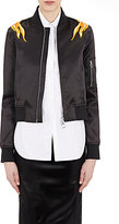 Paco Rabanne Women's Flame-Appliqué Bomber Jacket-BLACK