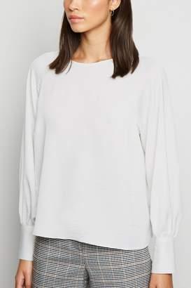 New Look Womens Satin Balloon Sleeve Blouse - White