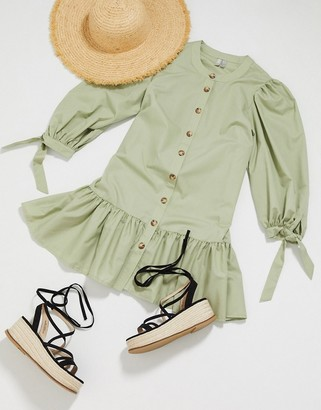 ASOS DESIGN grandad collar button through mini smock dress with pephem in khaki
