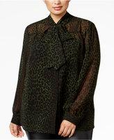 MICHAEL Michael Kors Size Animal-Print Tie-Neck Blouse