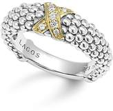Lagos 18K Gold and Sterling Silver X Collection Diamond Caviar Ring