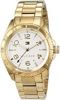Tommy Hilfiger Womens Quartz Watch, Analogue Classic Display and Gold Plated Strap 1781638