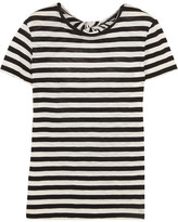 Proenza Schouler Tie-back Striped Cotton-jersey T-shirt - Black