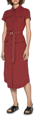 Cue Belted Button Front Midi Dress Chestnut