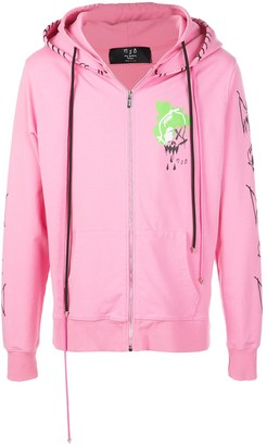 Mjb Marc Jacques Burton Painted-Print Zip-Up Hoodie