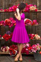 Shabby Apple Magenta May Drop Waist Dress