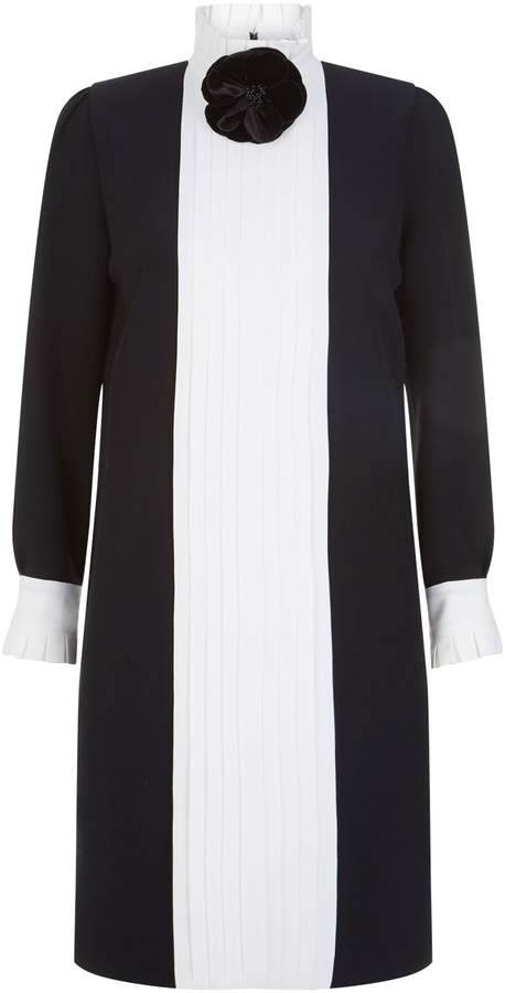 Andrew Gn Contrast Pleated Mini Dress