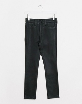 Abercrombie & Fitch coated skinny jeans in black