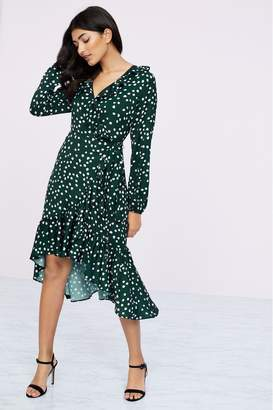 Lipsy Wrap Ruffle Midi Dress - 6 - Green