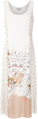 Alcaçuz Watercolour-Print Midi Dress