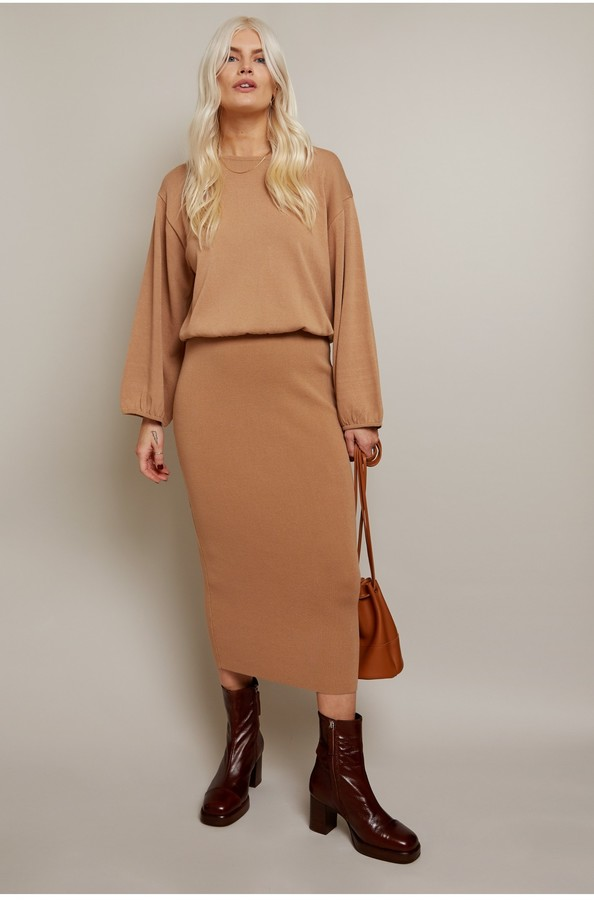 Thumbnail for your product : Little Mistress Admire Camel Knitted Midi Skirt Co-ord