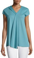 Lafayette 148 New York Cap-Sleeve Draped-Front Top