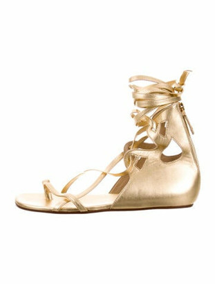 Chanel Leather Gladiator Sandals Gold