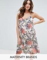 Mama Licious Mama.licious Mamalicious Sleeveless Palm Print Woven Dress