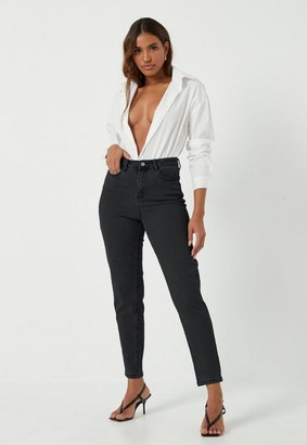 Missguided Black Comfort Stretch Slim Mom Jean