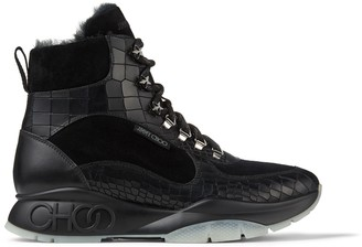 Jimmy Choo INCA/M Black Croc-Embossed Leather Technical Trainers with Shearling Lining