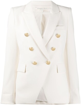 Veronica Beard Embossed Button Double-Breasted Blazer