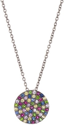 Adornia Fine Black Rhodium Plated Sterling Silver Mixed Sapphire Disc Pendant Necklace