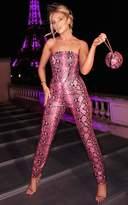4fashion Pink PU Snake Skinny Trousers