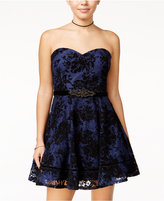 City Studios Juniors' Strapless Lace Fit & Flare Dress