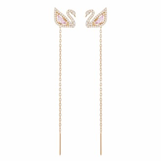Swarovski Dazzling Swan Pierced Earrings Sparkling White Crystals Iconic Swan Shape Detachable Chain Accessories Rose-Gold Tone Plating
