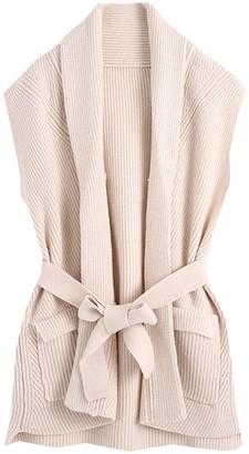 Goodnight Macaroon 'Cora' Cream Knitted Vest with Waist Tie