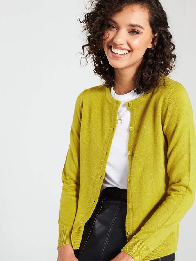 Very Supersoft Crew Neck Cardigan - Lime