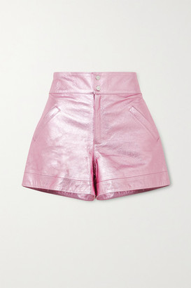 The Mighty Company The Hartland Metallic Leather Shorts - Pink