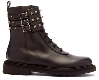 Valentino Rockstud Ankle-buckle Leather Boots - Womens - Black