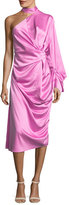 SOLACE London Yoshio One-Shoulder Side-Twist Satin Midi Dress