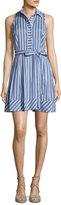 Milly Sleeveless Striped Tie-Waist Shirtdress, Blue