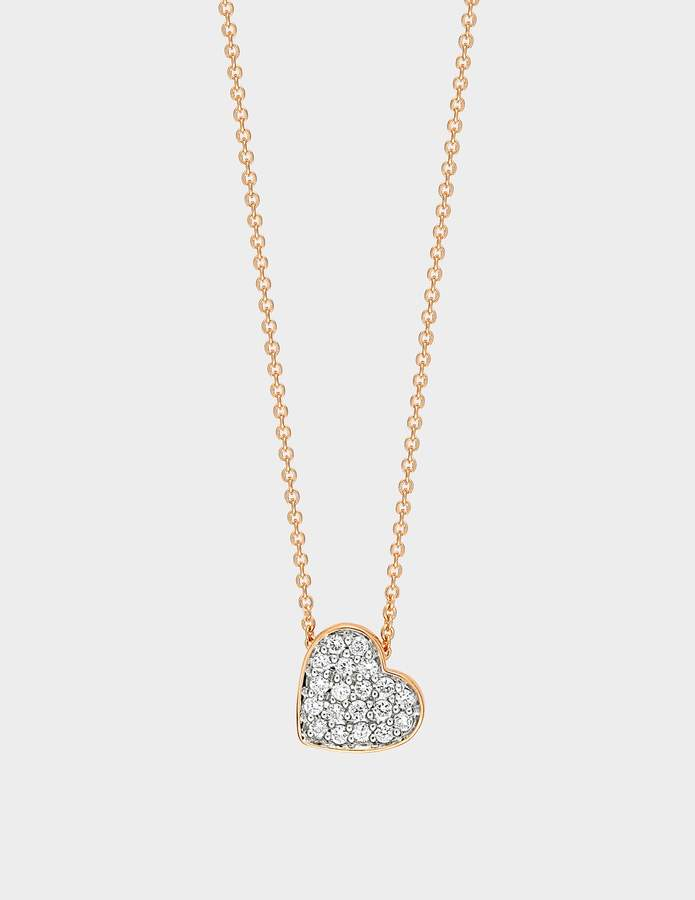 ginette_ny Tiny Diamond Heart Necklace in 18K Rose Gold and Diamonds