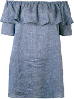 Roberto Collina chambray ruffled off-the-shoulder top - women - Linen/Flax - S