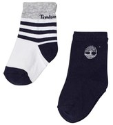 Timberland Pack of 2 Navy and Grey Stripe Socks