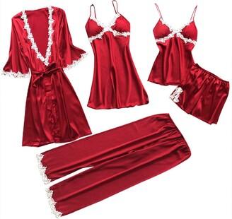 Mingfa.Y Sexy Lingerie Clearance Sale Women 2019 New Lingerie Sleepwear 5PC Set Mingfa Sexy Lace Trim Nightwear Nightdress Babydoll Dress Pants Outfit(Red L)