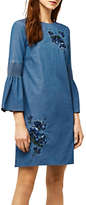 Warehouse Embroidered Denim Dress, Blue
