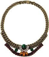 Swarovski Crystal Emerald And Amethyst Statement Necklace