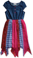 Sweet Heart Rose Woven Fashion Dress, Little Girls (2-6X)