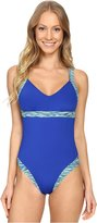 TYR Womens Contrast Trim One-Piece Swimsuit Blue L