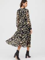 Very Button Through Pleated Skirt Dress - Print
