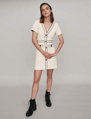Maje Tweed-stylecontrast dress