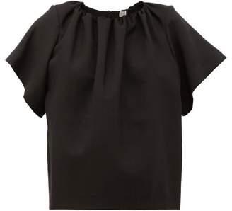 Totême Savanetta Gathered-neck Crepe T-shirt - Womens - Black