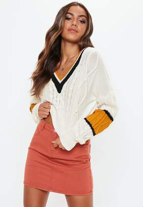 Missguided White V Neck Colour Block Cable Jumper