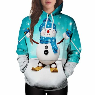 Dylung Sweater Dylung Ladies Tops Women Christmas Winter Plus Size Snowman Print Jumper Hoodie Pullover Sweatshirt Tops with Kangaroo Pouch Party Clothes Blouse for Women Ladies Green