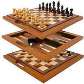 Trademark Games 3-in-1 Deluxe Wooden Game Set