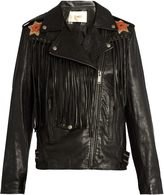 Valentino Wonderland hand-painted fringed leather jacket
