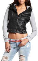 Charlotte Russe Hooded Knit-Sleeve PU Jacket